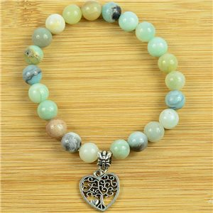Tree of Life Beads Lucky Bracelet 8mm in Moss Agate Stone on elastic thread 79247
