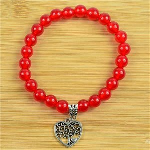 Lucky Tree of Life Bracelet 8mm Beads in Carnelian Stone on elastic thread 79249