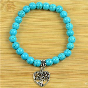 Lucky Tree of Life Bracelet 8mm Beads in Blue Howlite Stone on elastic thread 79243