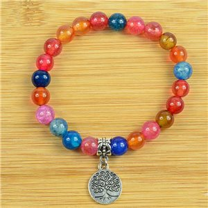 Lucky Tree of Life Bracelet 8mm Beads in Multicolor Dragon Vein Agate Stone on elastic thread 79258