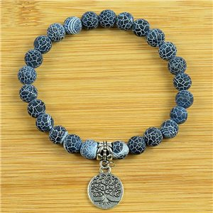 Lucky Tree of Life Bracelet 8mm Beads in Blue Agate Dragon Vein Stone on elastic thread 79260
