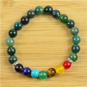 Lucky Bracelet Collection 7 Chakras Beads 8mm in Aquatic Agate Stone on elastic thread 79270