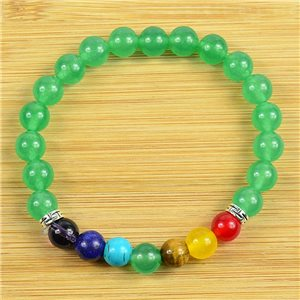 Lucky Bracelet Collection 7 Chakras Beads 8mm in Green Aventurine Stone on elastic thread 79271
