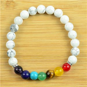 Charm Bracelet Collection 7 Chakras Beads 8mm in White Howlite Stone on elastic thread 79264