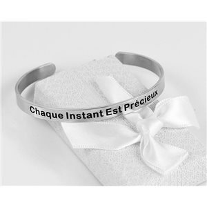 Message | Every Moment Is Precious | Stainless Steel Bangle 79416