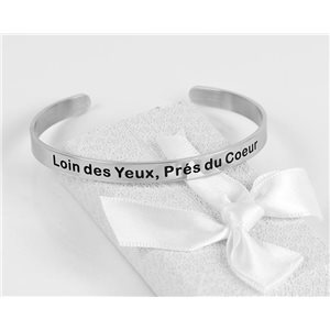 Message | Far from the Eyes, Near the Heart | Stainless Steel Bangle 79423