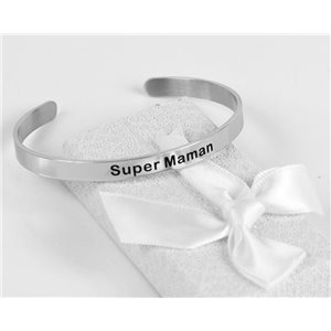 Message | Super Mom | Stainless Steel Bangle 79431