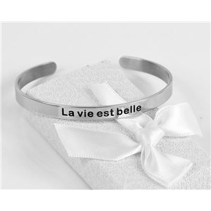 Message | Life is good | Stainless Steel Bangle 79415