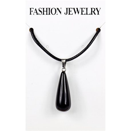 NEW Black Obsidian Stone Pendant Necklace on a cord L43-48cm 79284