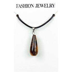 NEW Tiger Eye Stone Pendant Necklace on cord L43-48cm 79287