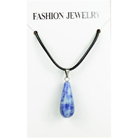 NEW Necklace Pendant in Stone Agate Lilac on cord L43-48cm 79297