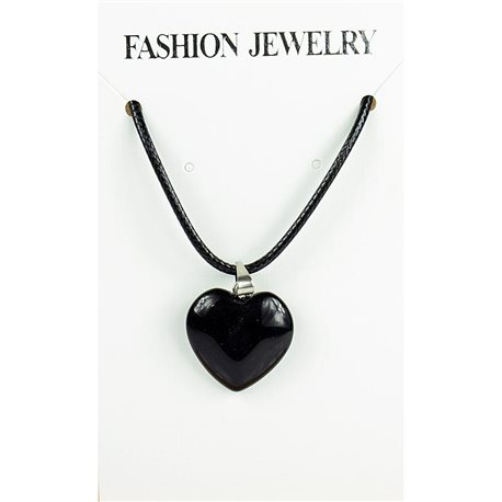 NEW Black Obsidian Stone Pendant Necklace on a cord L43-48cm 79299
