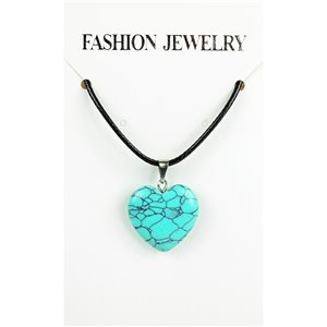 NEW Turquoise Howlite Stone Pendant Necklace on cord L43-48cm 79304