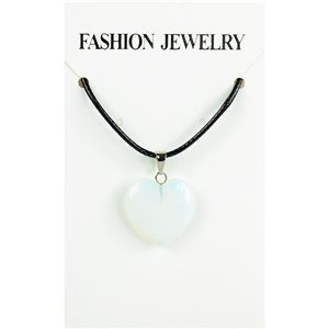 NEW Moonstone Pendant Necklace on cord L43-48cm 79307