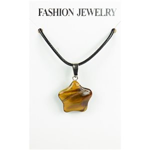 NEW Tiger Eye Stone Pendant Necklace on cord L43-48cm 79318
