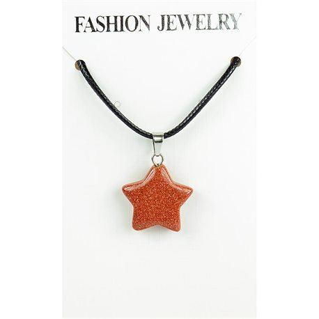 NEW Necklace Pendant in Stone of the Red Sun on a cord L43-48cm 79325