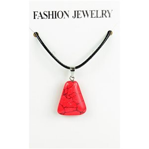 NEW Necklace Pendant in Red Howlite Stone on cord L43-48cm 79335