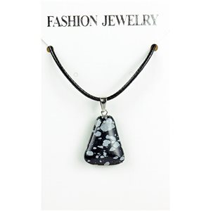 NEW Speckled Obsidian Stone Pendant Necklace on cord L43-48cm 79341