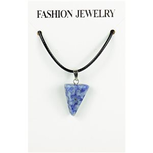 NEW Necklace Pendant in Stone Agate Lilac on cord L43-48cm 79353