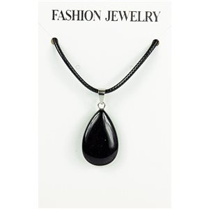 NEW Black Obsidian Stone Pendant Necklace on a cord L43-48cm 79370