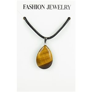 NEW Tiger Eye Stone Pendant Necklace on cord L43-48cm 79374