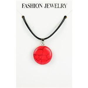 NEW Necklace Pendant in Red Howlite Stone on cord L43-48cm 79392