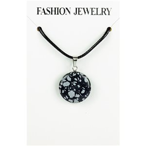 NEW Speckled Obsidian Stone Pendant Necklace on cord L43-48cm 79396