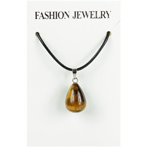 NEW Tiger Eye Stone Pendant Necklace on cord L43-48cm 79401