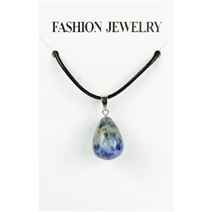 NEW Necklace Pendant in Stone Agate Lilac on cord L43-48cm 79413