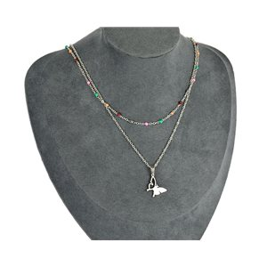 NEW Pretty Pendant Necklace on fine chain all in Stainless Steel 79439