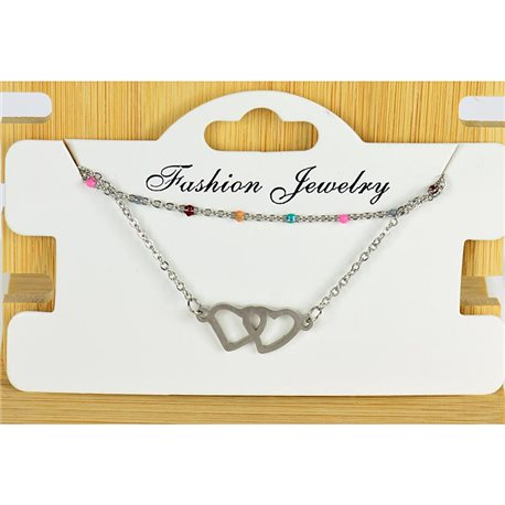 NEW Pretty Fine Chain Bracelet 2 rows all in Stainless Steel 79449