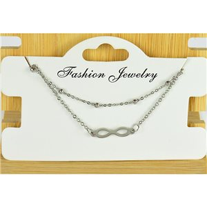 NEW Pretty Fine Chain Bracelet 2 rows all in Stainless Steel 79461
