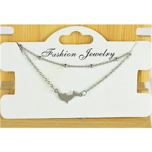 NEW Pretty Fine Chain Bracelet 2 rows all in Stainless Steel 79465