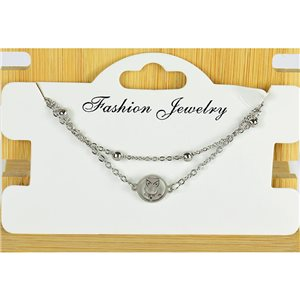 NEW Pretty Fine Chain Bracelet 2 rows all in Stainless Steel 79469