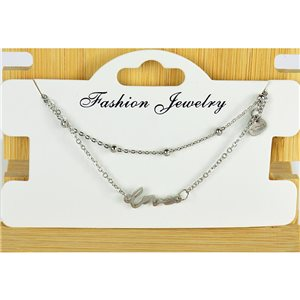 NEW Pretty Fine Chain Bracelet 2 rows all in Stainless Steel 79471