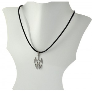 Necklace Pendant Brushed steel Shiny waxed cord on 66090