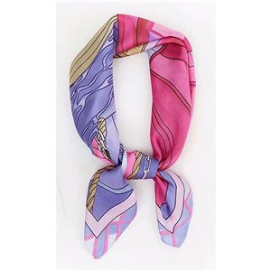 Square Satin Scarf 70 * 70cm in Polyester, touch silk effect - New Collection 79545