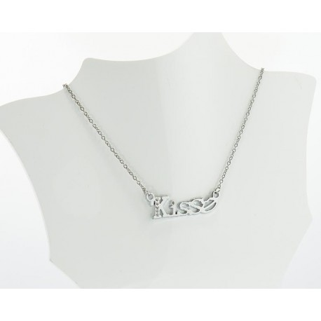 Necklace Pendant Stainless Steel and Strass KISS 62991