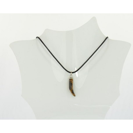 Stone Pendant Necklace in wax cord L48cm 63705