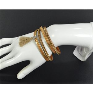 Chic Leather Bracelet Fashion appearance and Rhinestone Clasp Magnetic L39cm 67005