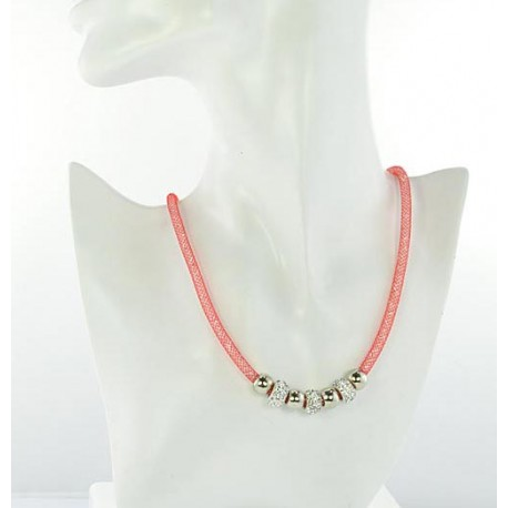 Necklace Top Fashion Fishnet and Strass magnetic clasp L50cm 64533