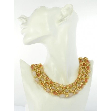 Riviere Necklace Crystal Beads of metal on partitioned L44cm 645