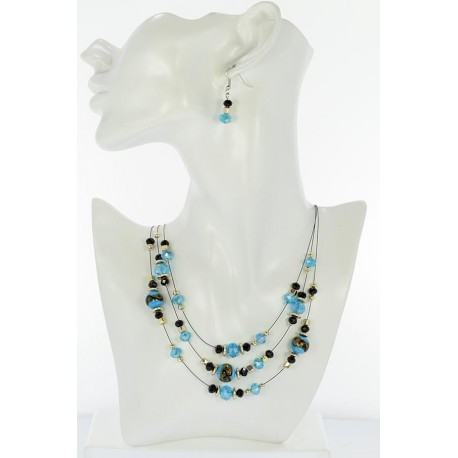 Adornment Collier Suspension 3 Rank Beads and Jewelry 65359