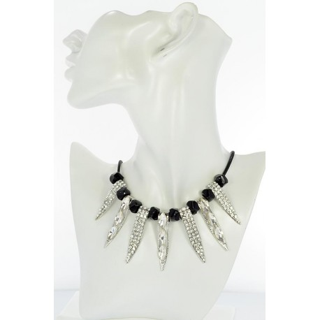 Riviere Necklace Rhinestone and Zircon on waxed cord L48cm 65374