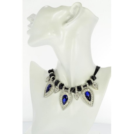 Riviere Necklace Rhinestone and Zircon on waxed cord L48cm 65389