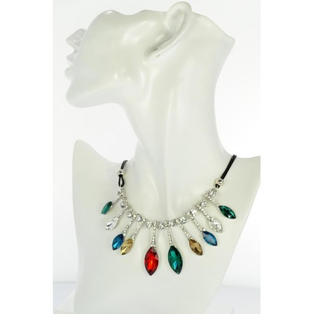Riviere Necklace Rhinestone and Zircon on waxed cord L48cm 65390