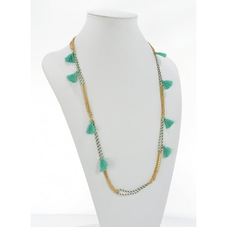 Summer Long Necklace Tassels fabric and silver chain L90cm 65627