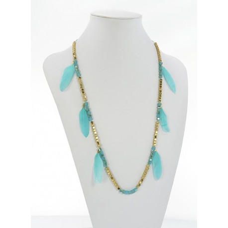 Long Necklace Summer Feathers on Stones and Jewelry L90cm 65629