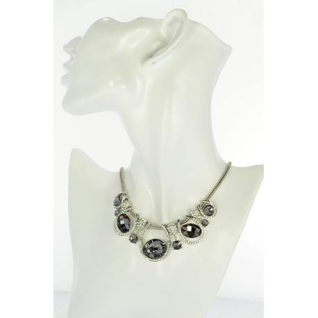 Riviere necklace Rhinestones and zirconia on silver chain 656 L48cm