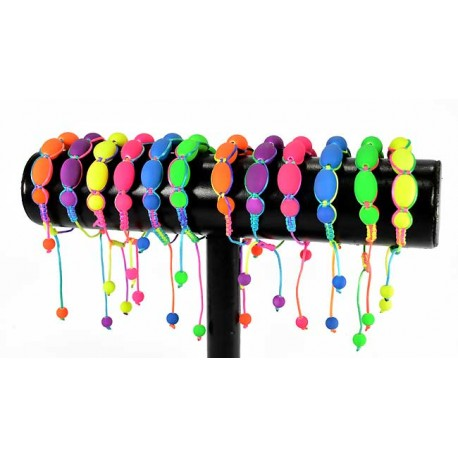 12 Adjustable Nylon Bracelets Collection FLUO 57589